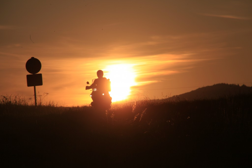 Sonnenaufgang Motorrad